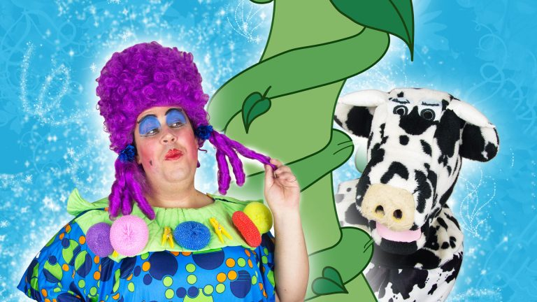 Pantomime dame and cow Buttermilk next to beanstalk